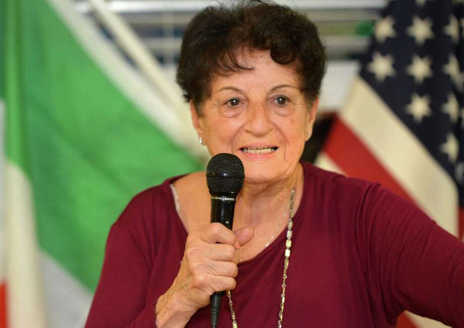 Marie Iannazzi, President of the Norwalk chapter of The Sons of Italy, talks during the monthly meeting on Tuesday April 11, 2017 at The Pastime Athletic Club in Norwalk Conn. about celebrations for the upcomming 100 year anniversary on April 22 Photo: Alex Von Kleydorff / Hearst Connecticut Media / Norwalk Hour