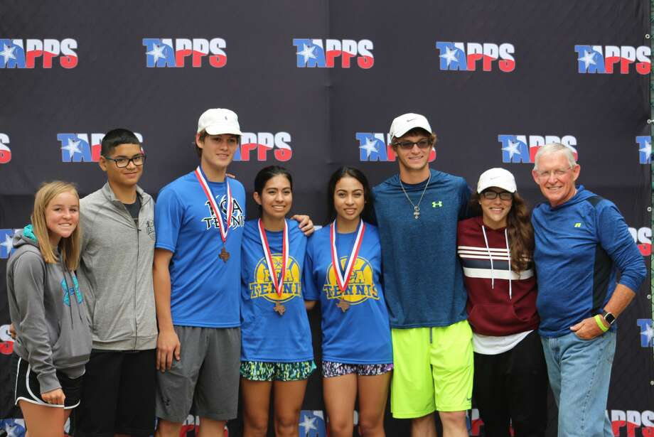Seven Plainview Christian Academy tennis players were at the TAPPS Class 2A State Tournament in Waco and three came home with bronze medals. Those at the state were, from left, Grace Shaw, Ivan Torres,Jared Ortega, Mary Hooton, Sarah Hooton Trip Fortenberry, Mia Stevens and Coach Carl Moman. Ortega finished third in the boys' singles division for the second consecutive year. Mary and Sarah Hooton were third in girls' doubles. Photo: Courtesy Photo