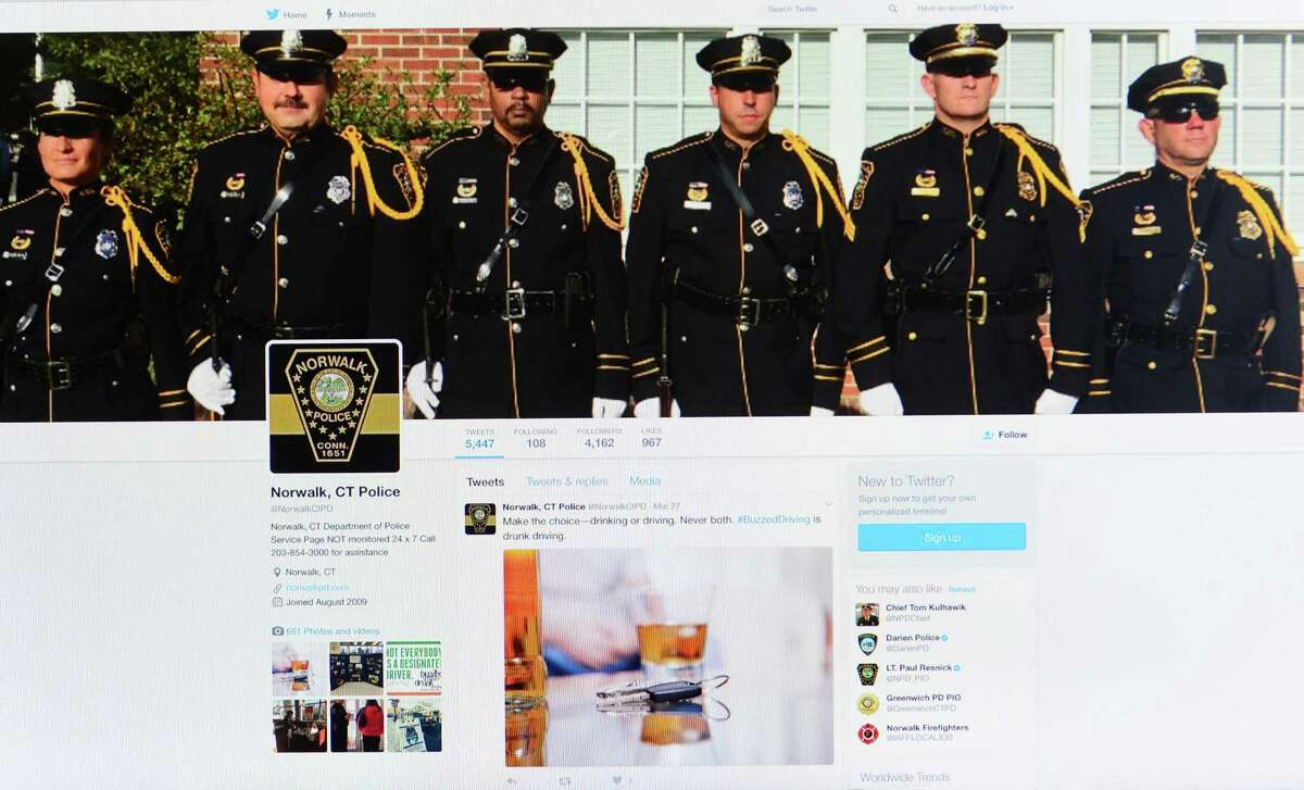 The Norwalk Police Department makes use of social media Wednesday, March 29, 2017, by posting on Twitter, Facebook and Instagram, to help them communicate with the community in Norwalk, Conn.