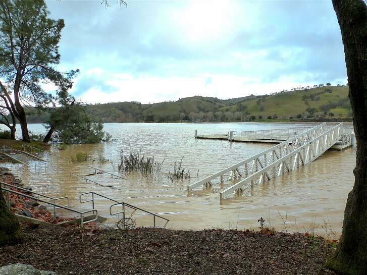 This is the fishing platform at Del Valle Reservoir when the park was closed after floodwaters inundated the park
