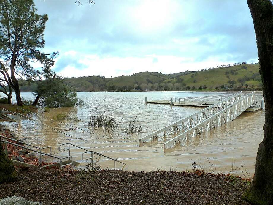 This is the fishing platform at Del Valle Reservoir when the park was closed after floodwaters inundated the park Photo: Tom Stienstra, Mona Koh / East Bay Parks