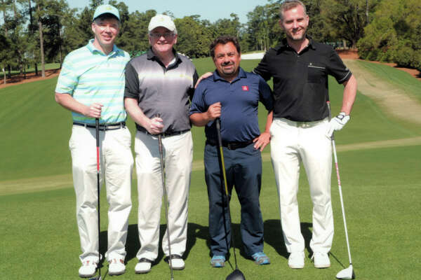 The media foursome that was given the opportunity to play a golf round Augusta National on Monday, April 10, 2017, the day after the Masters (from left): Ian O?Connor, a columnist for ESPN.com; Pete Dougherty, golf writer for the Times Union; Juan Guillen, a native Spaniard who writes about golf and is based out of Washington, and Martin Stromberg of Svensk Golf, a Swedish newsletter. (Photo courtesy of Augusta National)