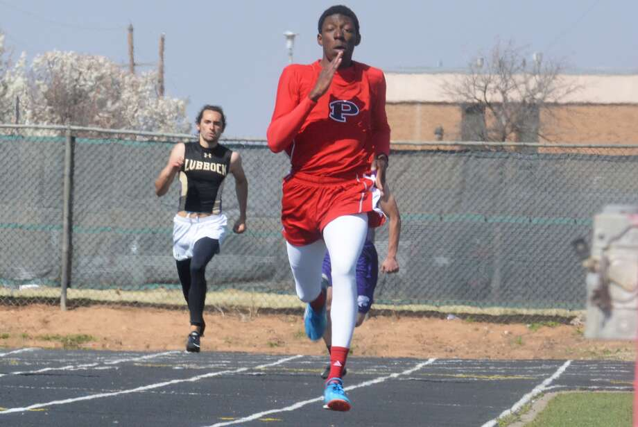 Plainview's Kershawn Whitaker sprints down the home stretch in a meet earlier this year. The Bulldog senior streaked to victory in the 400-meter dash at the District 3-5A meet Friday. Photo: Skip Leon/Plainview Herald
