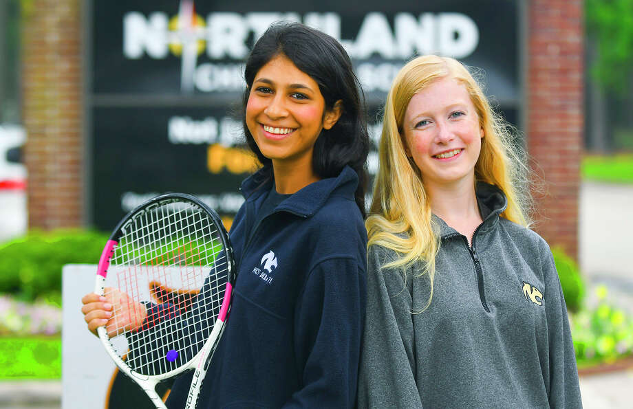 Senior Sarah Navid and freshman Elyse Dewbre helped Northland Christian School's varsity girls tennis squad secure two of the top three finishes in singles play, and both were key players on the TAPPS 4A state-title girls team. The Cougars finished with 18 total points at the state tournament, well ahead of Faith Academy of Marble Falls and San Jacinto Christian Academy, tied with 14 total points apiece. Photo: Northland Christian School