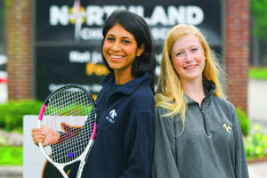 Senior Sarah Navid and freshman Elyse Dewbre helped Northland Christian School's varsity girls tennis squad secure two of the top three finishes in singles play, and both were key players on the TAPPS 4A state-title girls team. The Cougars finished with 18 total points at the state tournament, well ahead of Faith Academy of Marble Falls and San Jacinto Christian Academy, tied with 14 total points apiece.