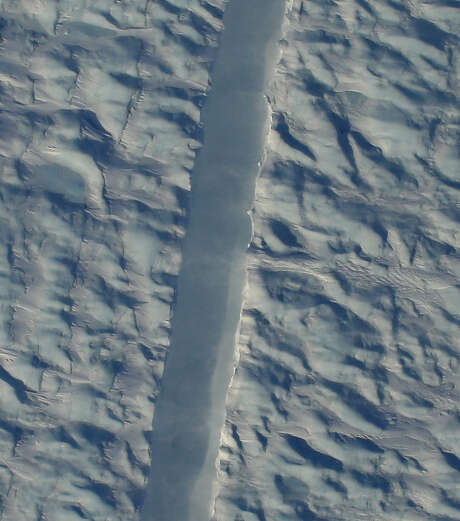 A preliminary image from NASA's Digital Mapping Service shows the new rift in the Petermann glacier.  Photo: NASA-DMS-Gary Hoffmann, Handout / Handout