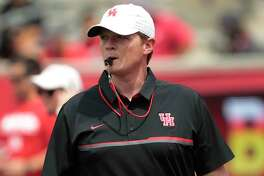 Houston head coach Major Applewhite watches his team play during the University of Houston Red-White Game at TDECU Stadium on Saturday, April 15, 2017, in Houston.