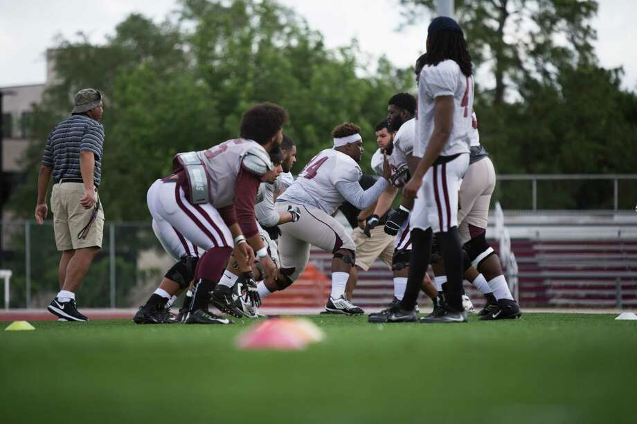 TSU players warm up prior to a inner scrimmage on the field during the TSU Spring Football at Durley Stadium, Saturday, April 15, 2017, in Houston. (Juan DeLeon/for the Houston Chronicle ) Photo: Juan DeLeon, For The Chronicle / Houston Chronicle