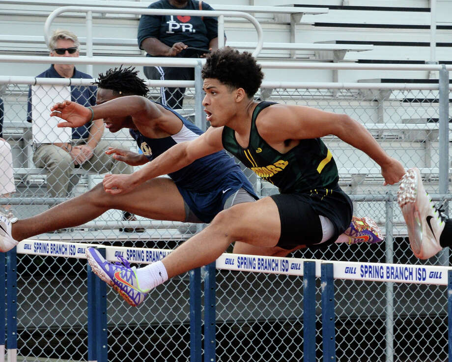 Stratford's D'Angelo Thomas competes in the 110-meter hurdles during the District 15-6A championships at Stratford High School. Thomas finished fourth in the event to qualify for the area meet. Photo: Craig Moseley