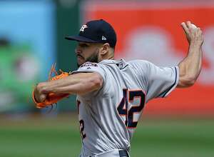 Houston Astros pitcher Lance McCullers Jr. works against the Oakland Athletics in the first inning of a baseball game Saturday, April 15, 2017, in Oakland, Calif. (AP Photo/Ben Margot)