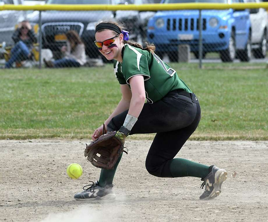 Shenendehowa shortstop Nicole McCarville catches a grounder during a softball game with Massapequa on Saturday, April 15, 2017 in Clifton Park, N.Y. (Lori Van Buren / Times Union) Photo: Lori Van Buren / 20040273A