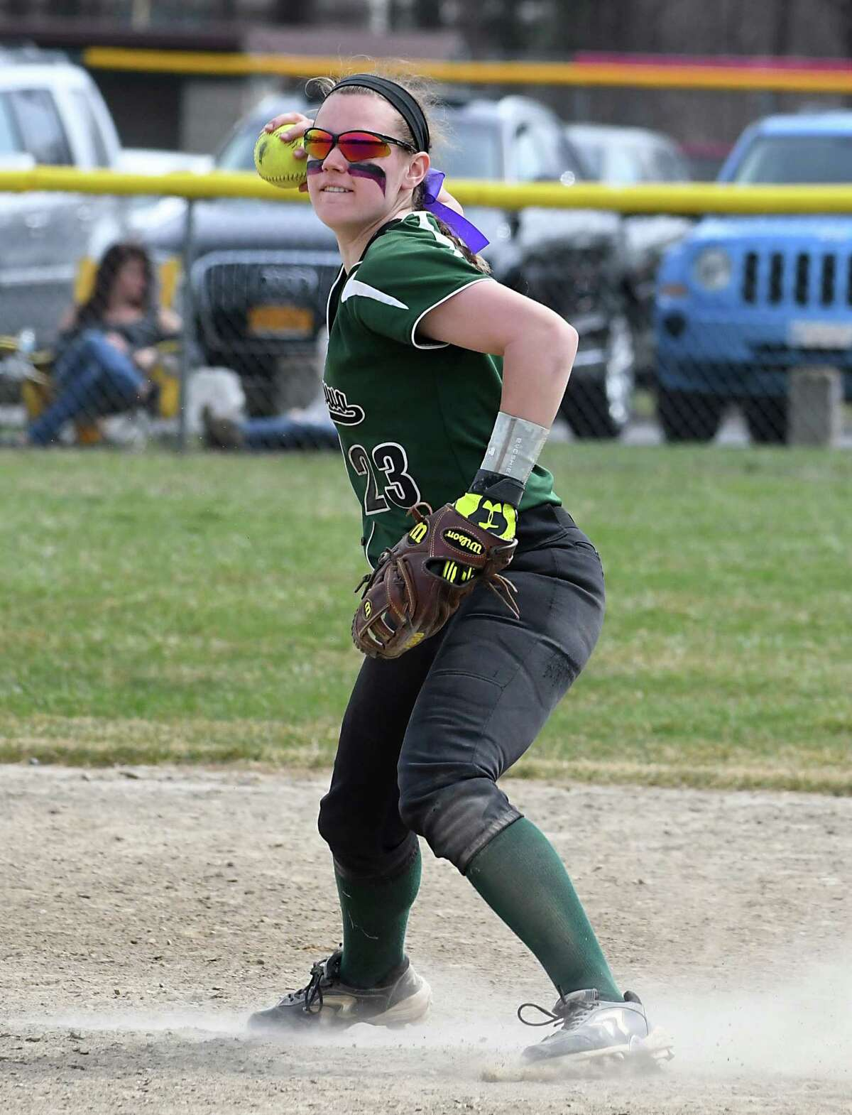 Shenendehowa shortstop Nicole McCarville throws to first base during a softball game with Massapequa on Saturday, April 15, 2017 in Clifton Park, N.Y. (Lori Van Buren / Times Union)