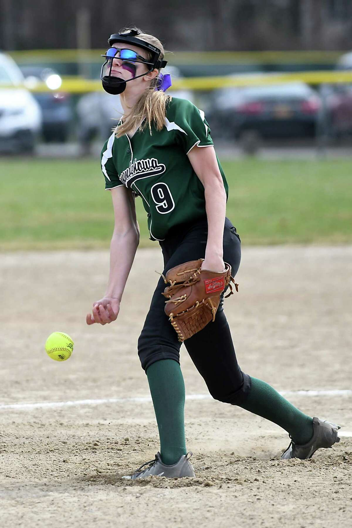 Shenendehowa pitcher Emily Carroll throws the ball during a softball game with Massapequa on Saturday, April 15, 2017 in Clifton Park, N.Y. (Lori Van Buren / Times Union)