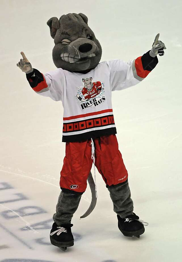 Rowdy, the Albany River Rats mascot, gets the crowd going during a hockey game against Adirondack at the Times Union Center in Albany, NY on December 30, 2009.  (Lori Van Buren / Times Union) Photo: LORI VAN BUREN / 00006519G