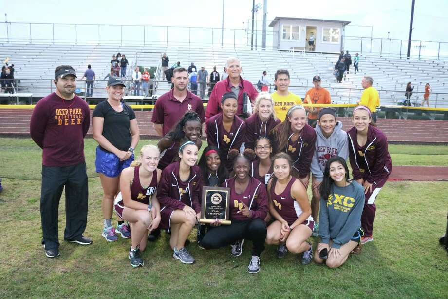 The newly-crowned Deer Park High School girls track and field team celebrate their moment after the two-day 22-6A meet at Allan Brown Stadium this past Wednesday night. Winning district by 66 points, it was an impressive show by the Lady Deer. Photo: Robert Avery