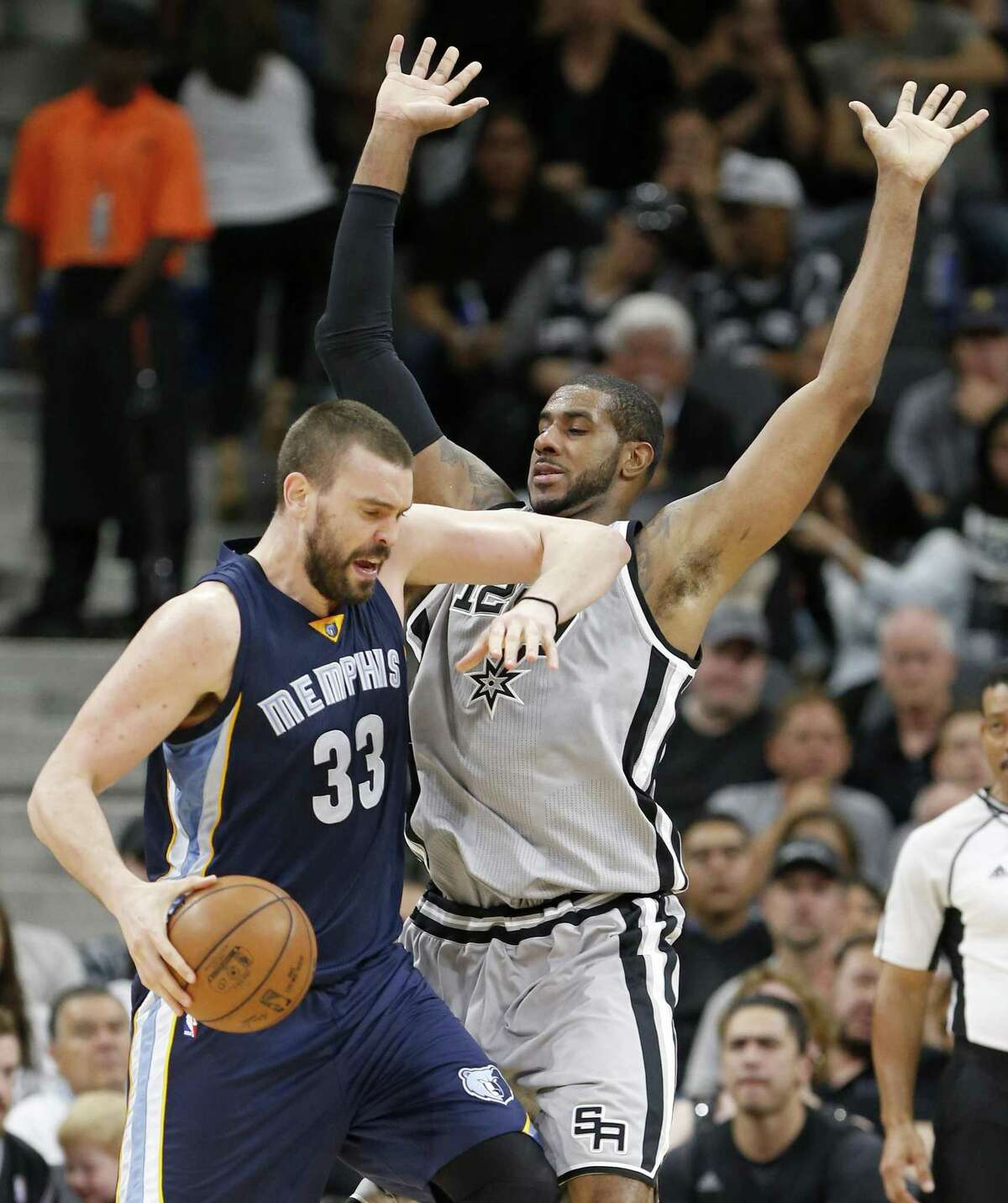 Memphis Grizzlies?• Marc Gasol looks for room around San Antonio Spurs' LaMarcus Aldridge during first half action of Game 1 in the first round of the Western Conference playoffs held Saturday April 15, 2017 at the AT&T Center.