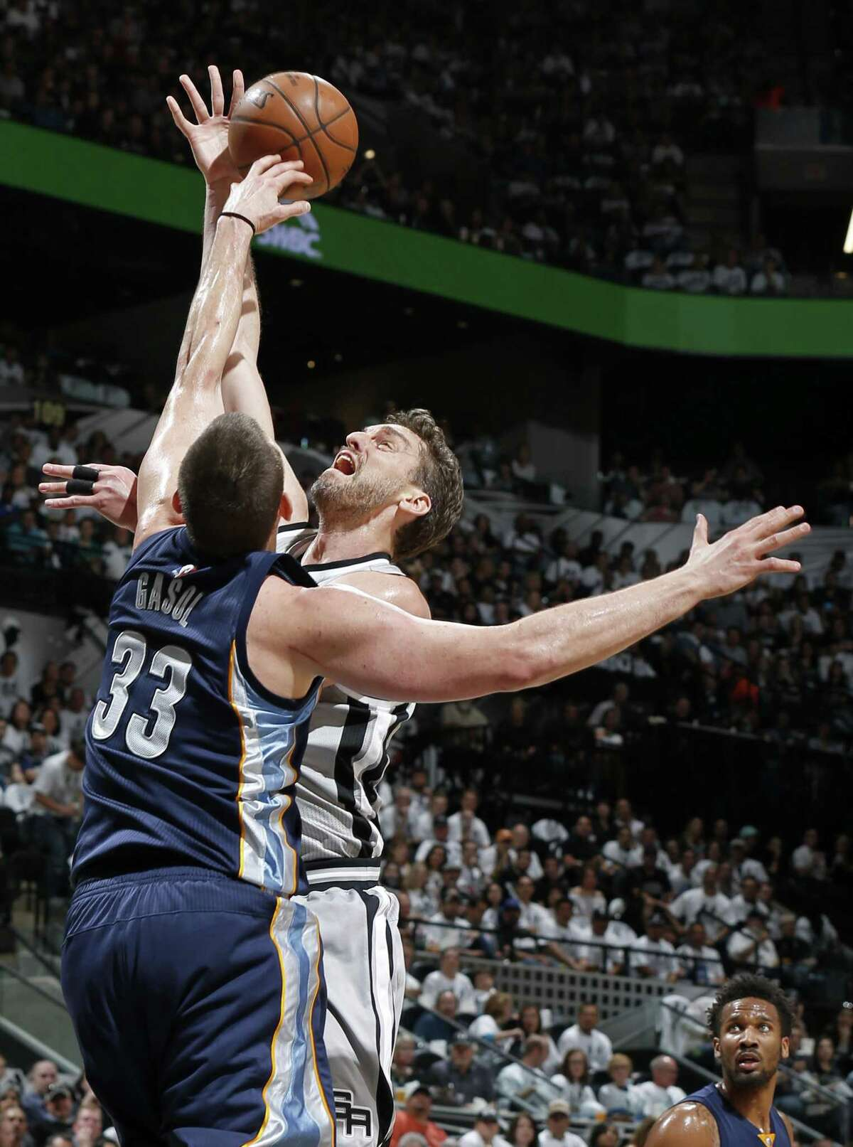 Memphis Grizzlies?• Marc Gasol blocks San Antonio Spurs' Pau Gasol during first half action of Game 1 in the first round of the Western Conference playoffs held Saturday April 15, 2017 at the AT&T Center.