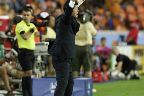 Houston Dynamo Head Coach Wilmer Cabrera is upset with a call during the second half of the game at BBVA Compass Stadium Saturday, April 15, 2017, in Houston.