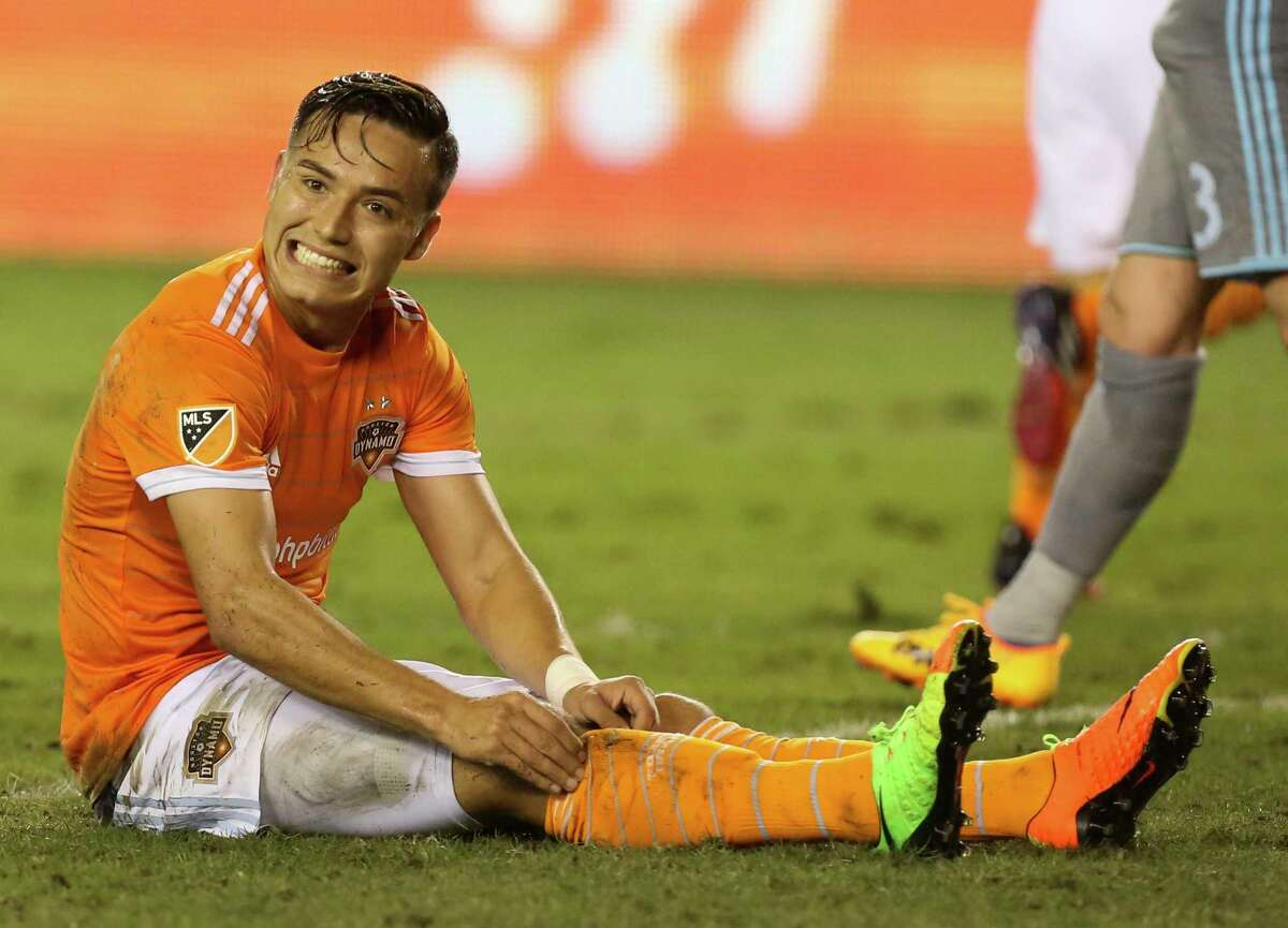 Houston Dynamo forward Erick Torres (9) reacts to not making a goal during the second half of the game at BBVA Compass Stadium Saturday, April 15, 2017, in Houston.