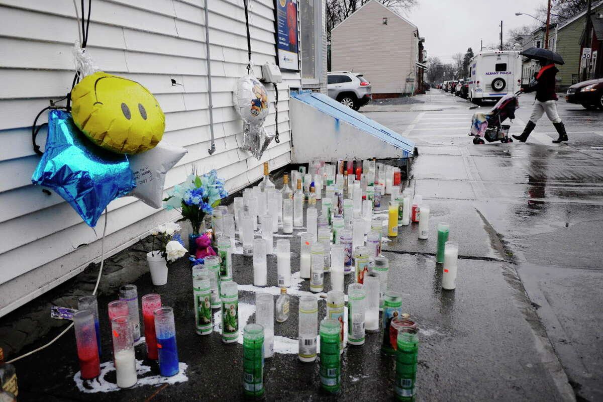 A memorial set up for Christopher J. Hardy is seen near the intersection of First Street and Quail Street on Wednesday, April 12, 2017, in Albany, N.Y. Hardy was shot on Saturday. (Paul Buckowski / Times Union)