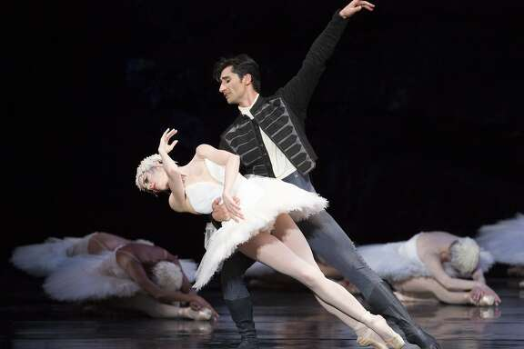 "From left: Vanessa Zahorian and Davit Karapetyan perform during San Francisco Ballet's ""Swan Lake"" at the War Memorial Opera House on Saturday, April 15, 2017, in San Francisco, Calif. It was the married couple's last performance."