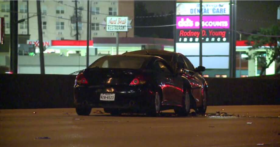The pedestrian was hit by a gray Hyundai Sonata, that was then struck by three other cars. Photo: MetroVideo
