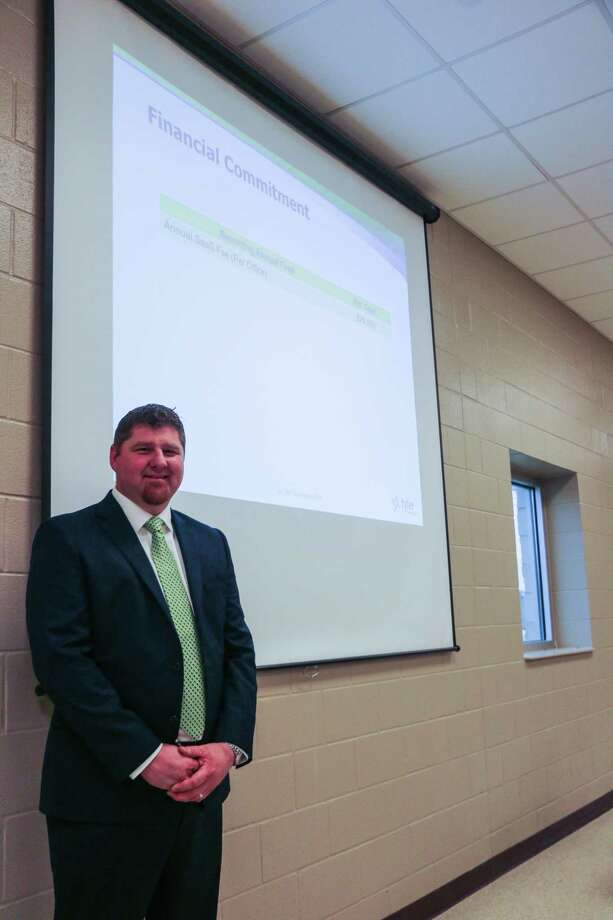 Stephen Stehling from Tyler Technologies presented the judicial software and gave his pitch on why the county should invest in judicial software. Photo: David Taylor
