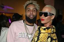 BERMUDA DUNES, CA - APRIL 14: (L-R) Odell Beckham Jr. and Amber Rose attends the Midnight Garden After Dark at the NYLON Estate on April 14, 2017 in Bermuda Dunes, California.  (Photo by Jonathan Leibson/Getty Images for NYLON Media)