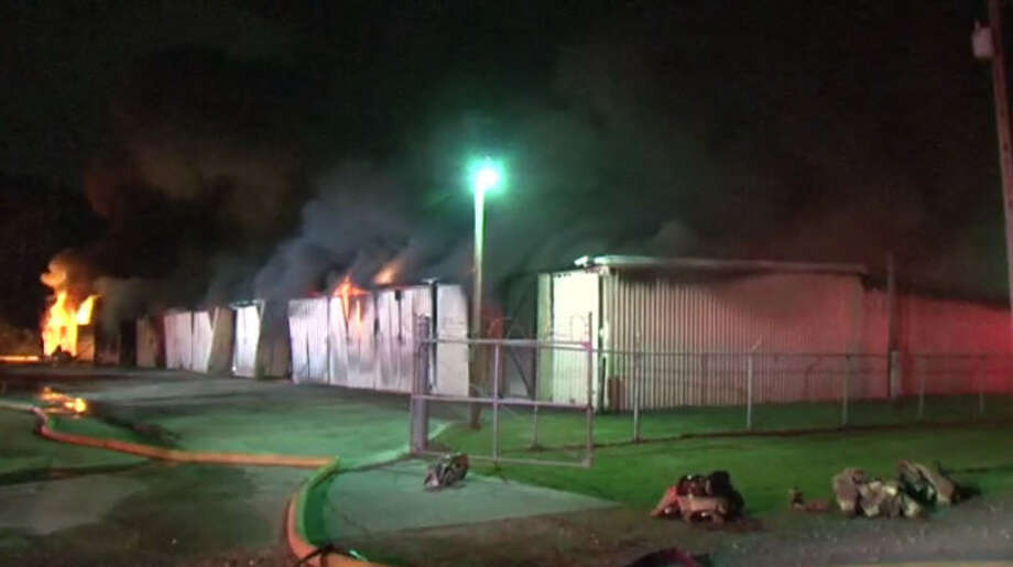 A three-alarm blaze in Kingwood destroyed a warehouse overnight. Photo: Metro Video