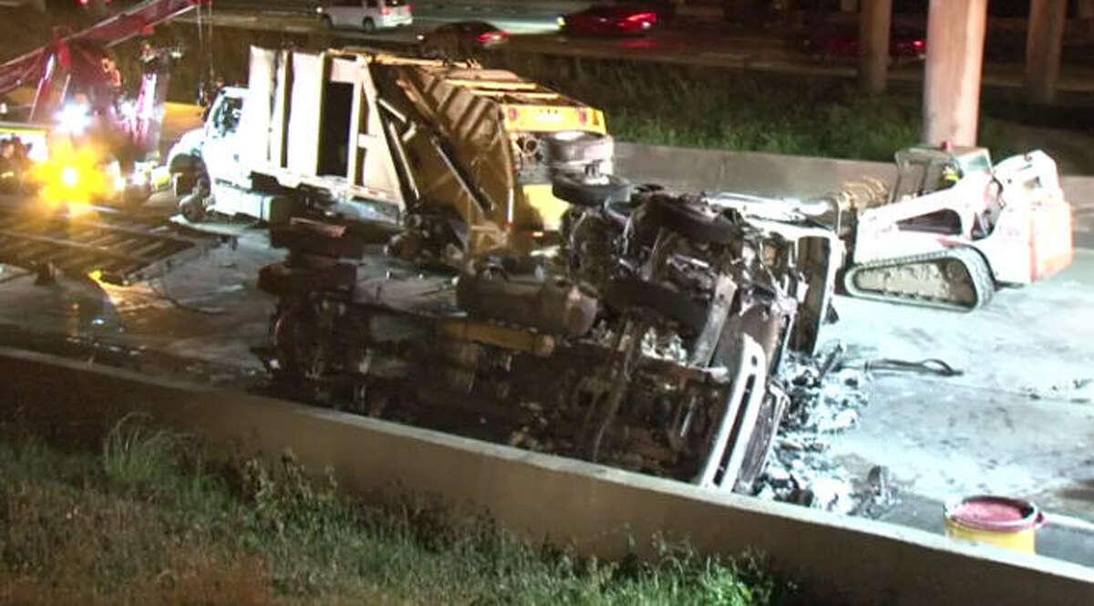 A fiery truck crash shut down portions of Southwest Freeway for hours Saturday night. A fiery truck crash shut down portions of Southwest Freeway for hours Saturday night.
