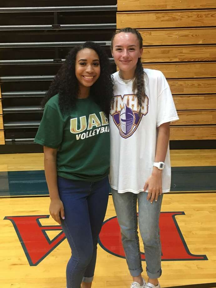 Dawson volleyball players Jordan Brown and Adrien Valdez each signed collegiate letters of intent. Brown (left) will play at Alabama-Birmingham while Valdez has signed with the University of Mary Hardin-Baylor. Photo: Submitted Photo
