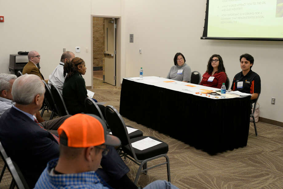 From left, Kathleen McNeil, Natalia Ponce, and Joseph Gabaldon speak about their generational perspectives during the PBOG Conference and Expo on Wednesday at Horseshoe Pavilion. Photo: James Durbin/Midland Reporter-Telegram