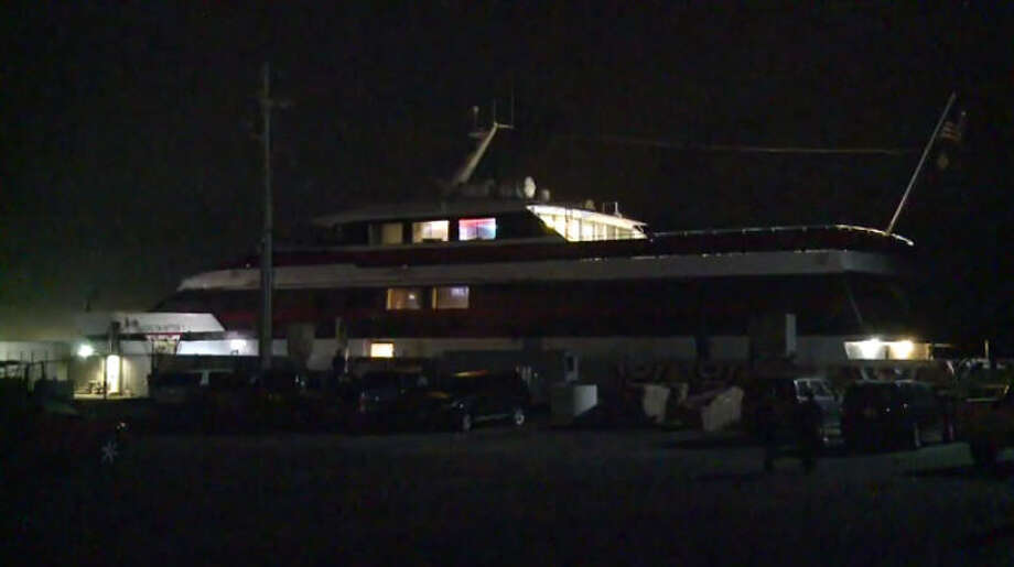 A casino yacht got into a minor crash in Galveston overnight. Photo: Metro Video