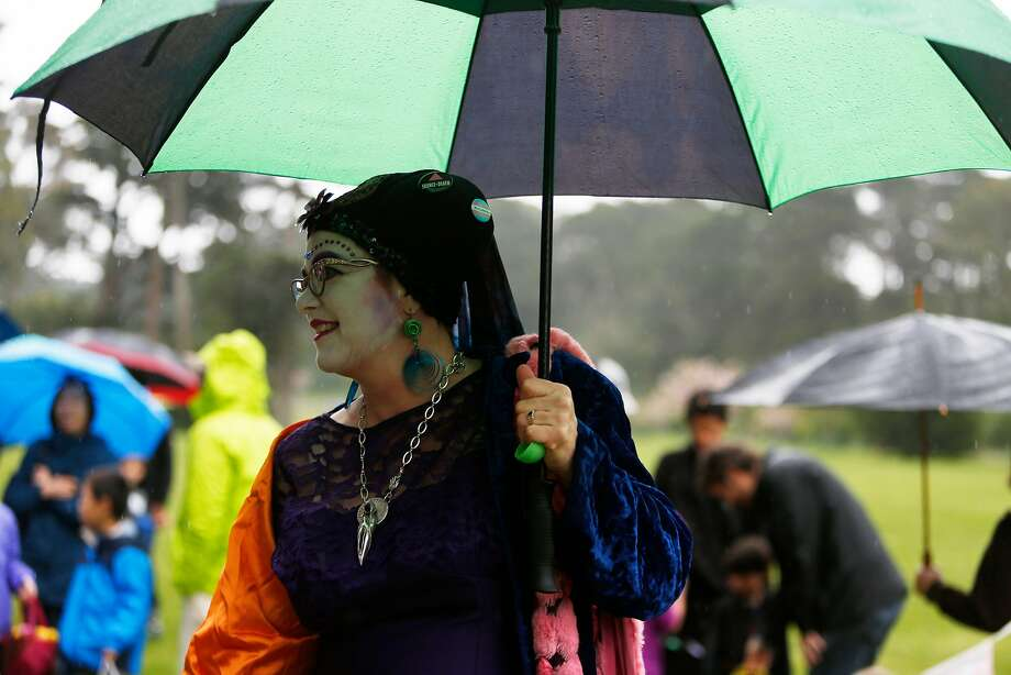 A Sister of Perpetual Indulgence braves the rain during the annual Easter Egg Hunt in Golden Gate Park in 2017. Photo: Natasha Dangond / The Chronicle