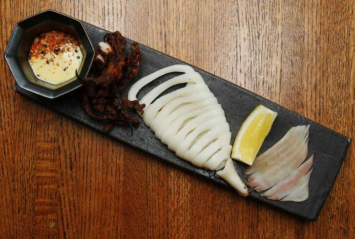 Yaki Surume Ika, marinated Hokkaido squid with house-made yuzu mayonnaise, at Yuzuki Japanese Eatery on Saturday, April 15, 2017, in San Francisco, Calif.