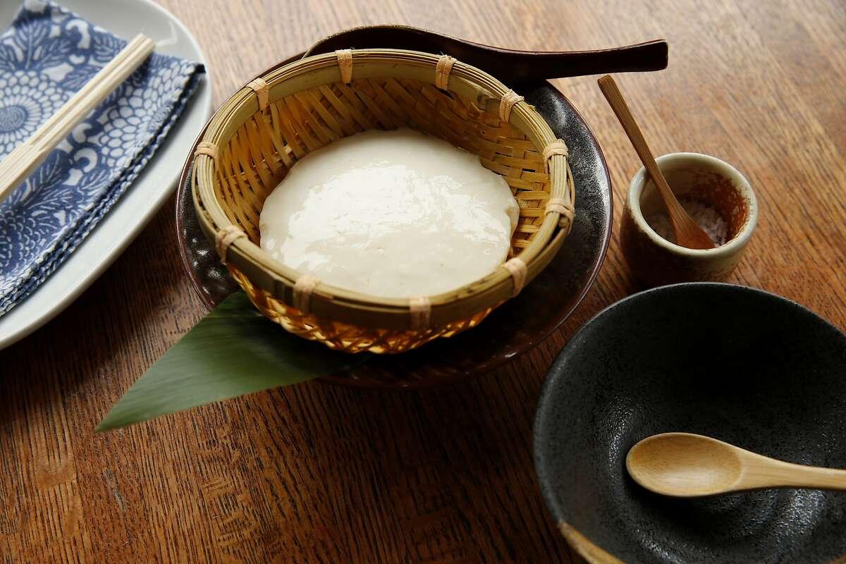 Zaru Tofu, house-made fresh tofu from organic soybean with a side of sea salt, at Yuzuki Japanese Eatery on Saturday, April 15, 2017, in San Francisco, Calif.