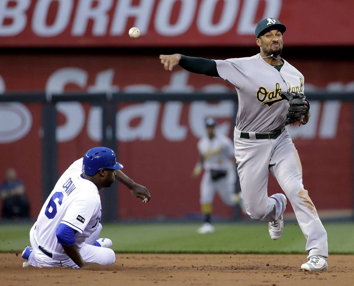 Oakland Athletics shortstop Marcus Semien throws to first for the double play hit into by Kansas City Royals' Eric Hosmer after forcing Lorenzo Cain (6) out as second during the first inning of a baseball game Wednesday, April 12, 2017, in Kansas City, Mo. (AP Photo/Charlie Riedel)