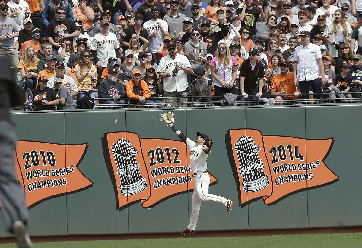 San Francisco Giants left fielder Jarrett Parker catches a fly ball hit Colorado Rockies' DJ LeMahieu during the fourth inning of a baseball game in San Francisco, Saturday, April 15, 2017. Parker was injured on the play and left the game. (AP Photo/Jeff Chiu)