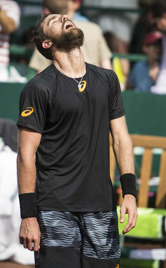 Steve Johnson reacts after defeating Thomaz Bellucci in the championship singles match of the U.S. Men's Clay Court Championship tennis tournament at River Oaks Country Club on Sunday, April 16, 2017, in Houston. Johnson won 6-4, 4-6, 7-6 (5). (Brett Coomer / Houston Chronicle via AP) Photo: Brett Coomer/Associated Press