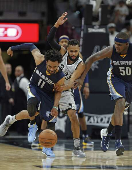 """They showed us what championship-level basketball is, and that's something we are still learning,"" Memphis guard Mike Conley said of the Spurs after the Game 1 blowout. Photo: Ronald Cortes / Getty Images / 2017 Getty Images"