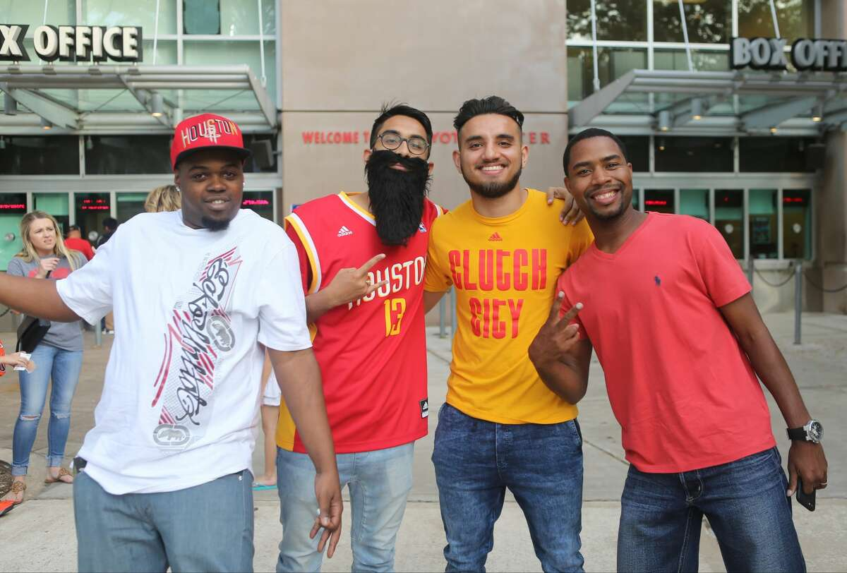 Fans wait to enter Toyota Center for the Rockets first playoff game against the Oklahoma City Thunder, Sunday, April 16, 2017, in Houston. (Mark Mulligan / Houston Chronicle)