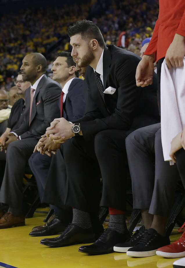 Portland Trail Blazers center Jusuf Nurkic sits on the bench during the second half of Game 1 of a first-round NBA basketball playoff series between the Golden State Warriors and the Trail Blazers in Oakland, Calif., Sunday, April 16, 2017. The Warriors won 121-109. (AP Photo/Jeff Chiu) Photo: Jeff Chiu, Associated Press