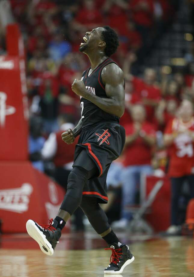 Houston Rockets guard Patrick Beverley (2) celebrates his three-pointer during the second half of Game 1 of an NBA basketball first-round, Western Conference playoffs at the Toyota Center, Sunday April 16, 2017, in Houston. ( Karen Warren / Houston Chronicle ) Photo: Karen Warren/Houston Chronicle