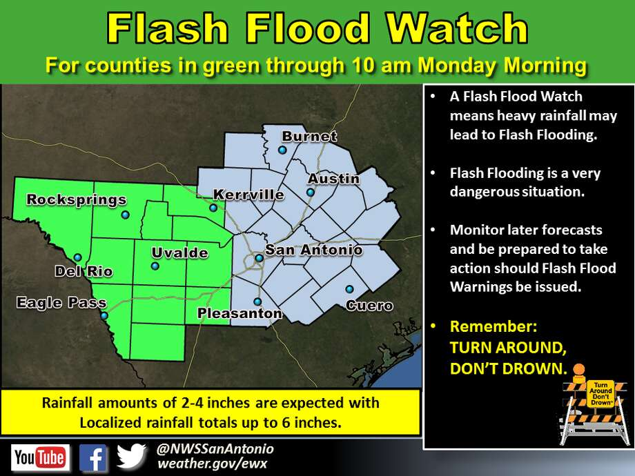 These counties are under a flash flood watch through 10 a.m. Monday. Photo: National Weather Service
