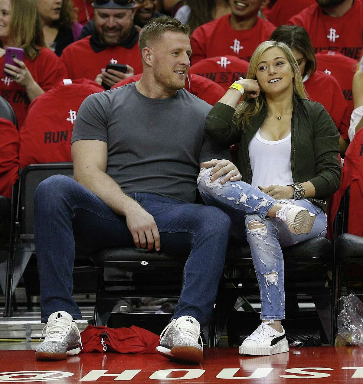 HOUSTON, TX - APRIL 16: JJ. Watt of the Houston Texans and girlfriend Kealia Ohai courtside during Game One of the first round of the Western Conference 2017 NBA Playoffs at Toyota Center on April 16, 2017 in Houston, Texas. NOTE TO USER: User expressly acknowledges and agrees that, by downloading and/or using this photograph, user is consenting to the terms and conditions of the Getty Images License Agreement.