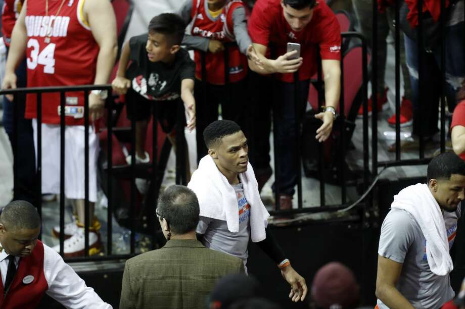 Oklahoma City Thunder guard Russell Westbrook (0) walks off the court after Game 1 of an NBA basketball first-round, Western Conference playoff game at Toyota Center, Sunday, April 16, 2017, in Houston. (Mark Mulligan / Houston Chronicle) Photo: Mark Mulligan/Mark Mulligan / Houston Chronicle