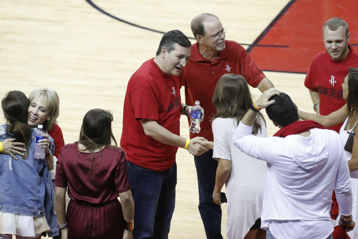 Congressman Ted Cruz talks on the court after Game 1 of an NBA basketball first-round, Western Conference playoff game at Toyota Center, Sunday, April 16, 2017, in Houston. (Mark Mulligan / Houston Chronicle)