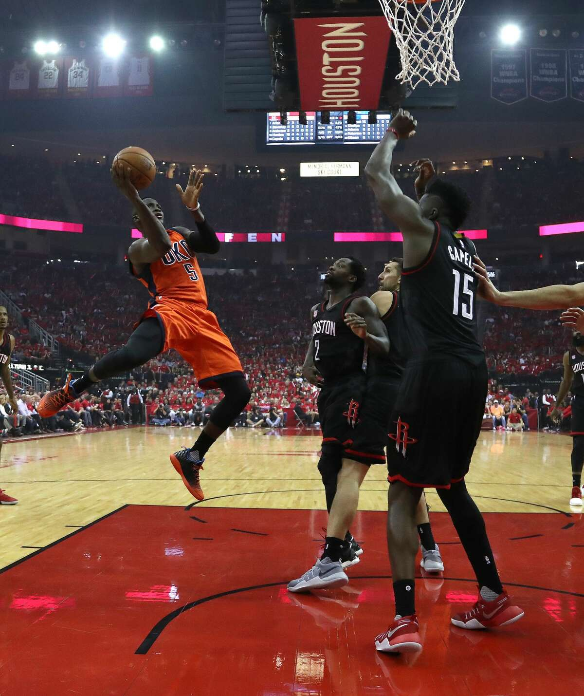 Oklahoma City Thunder guard Victor Oladipo (5) goes up for a basket during the first half of Game 1 of an NBA basketball first-round, Western Conference playoffs at the Toyota Center, Sunday April 16, 2017, in Houston. ( Karen Warren / Houston Chronicle )