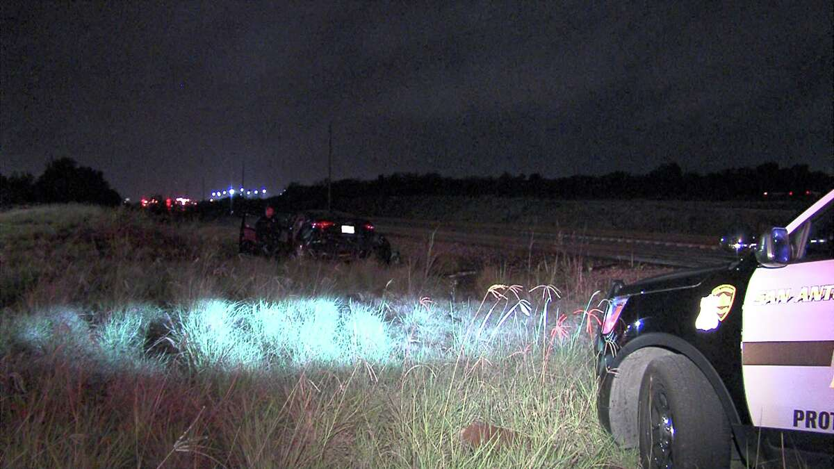 The two men, both inside a dark-colored sedan, were swept down the train tracks in the 6000 block of Rittiman Road around 1:45 p.m. on April 17, 2017, after they hit the train, police say.