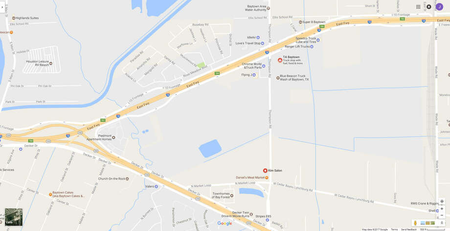 A screenshot of a Google Maps image of Thompson Road near Texas Spur 330 in Baytown, Texas. On April 17, 2017, a pedestrian was struck and killed by a vehicle in the area. Photo: File/Google
